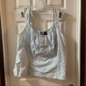 Zoey Beth Blue Embroidered Sleeveless Blouse 3X